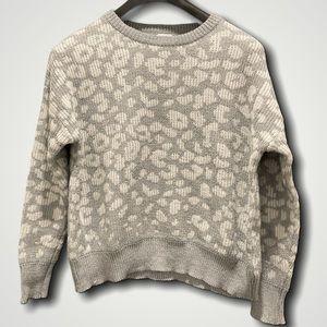 John + Jenn Grey White Leopard Knit Sweater Sz SM